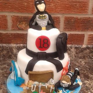 18th Birthday cake  - Batman, Karate, diving and PS4 - Cake by Karen's Kakery