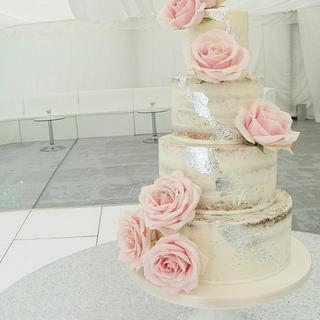 Sweet Avalanche Naked Wedding Cake - Cake by Helen Alborn