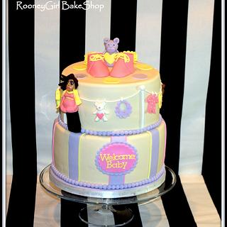 Mommy, Clothesline, Baby Bootie Shower Cake