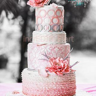Pretty in Pink- Wedding Cake with large open roses
