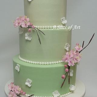 Cherry blossom wedding cake - Cake by A Slice of Art