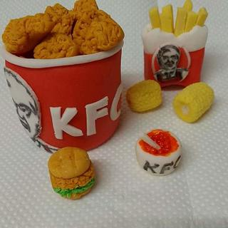 Miniature fondant KFC models.