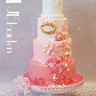 Pink weddingcake - Cake by Judith-JEtaarten