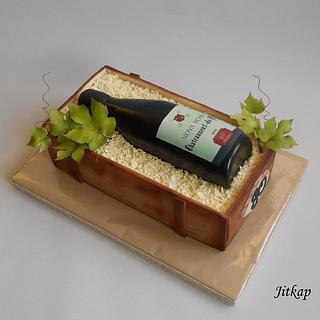 Bottle of wine cake