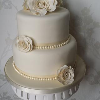 Ivory, Pearl Ribbon Wedding Cake