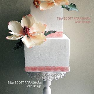 Square Magnolia Wedding cake