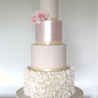 Blush shimmer ruffle wedding cake