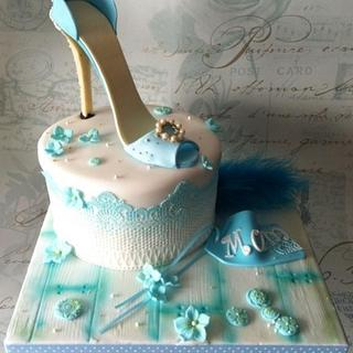 Teal Blue Shoe Lace cake