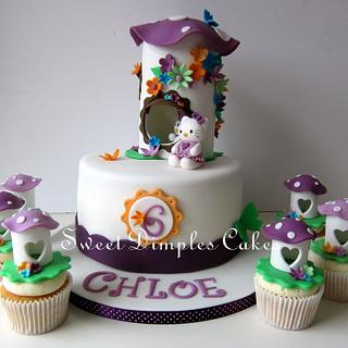 Hello Kitty Themed cake and cupcakes - Cake by SweetDimplesCakes