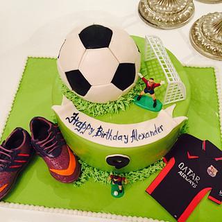Soccer themed cake - Cake by Malika