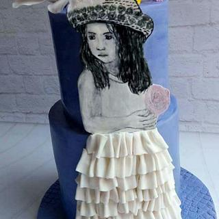 Handpainted girl cake