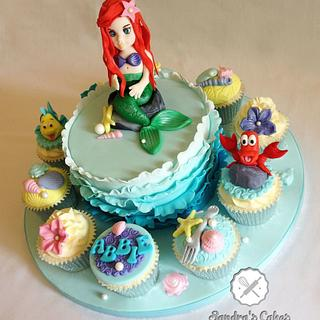 Little Mermaid cake & cupcakes
