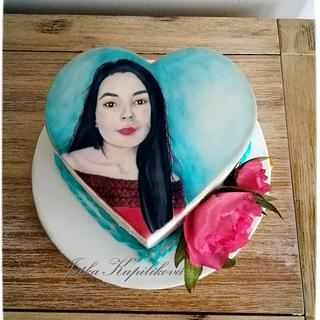 Sweet cake portrait for a beautiful lady - Cake by Jitka