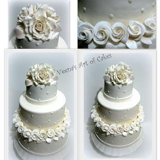 Handmade Roses white wedding cake