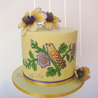 Painted bird cake