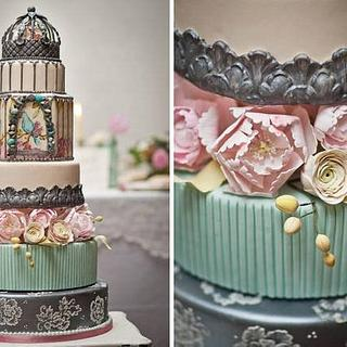 Elaborate Birdcage Wedding Cake with Sugar Peonies