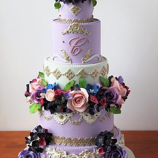 elegant royal wedding flower cake