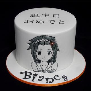Hand painted Anime Japanese Cartoon Cake