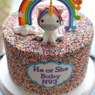 Unicorn Gender Reveal Cake