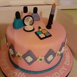 Make-Up Birthday Cake - Cake by Combe Cakes