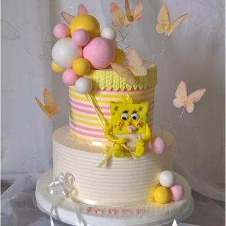 Baby sponge Bob & balloons - Cake by Tortolandia