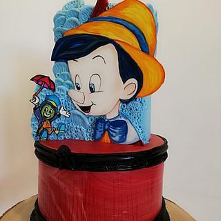 Torta Pinocchio... Dipinto su pasta a di zucchero