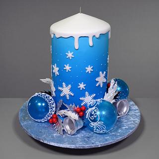 3D Christmas Candle Cake