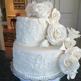 Cascading Roses white Wedding Cake