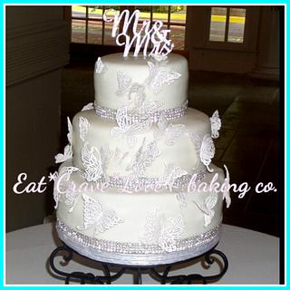 White Lace Butterflies wedding cake