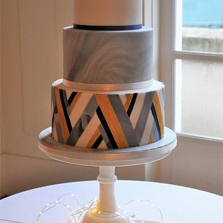 Modern Art Deco navy & gold wedding cake
