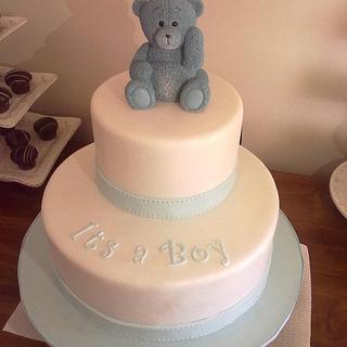 Baby blue baby shower cake