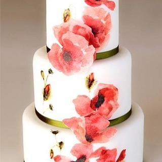 Wafer paper/painted poppy cake