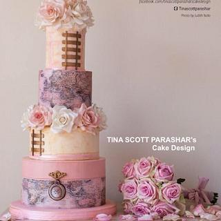 Cake Central magazine feature - Vintage Maps and Trains Wedding Cake