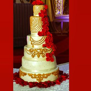 Red, Ivory and Gold Wedding Cake