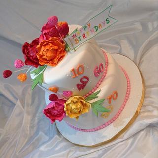 Bright peony birthday cake