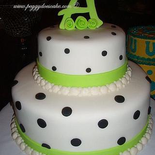 Lime and Black Fondant Polka Dot Cake - Cake by Peggy Does Cake