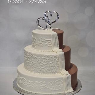 Peeking chocolate wedding cake