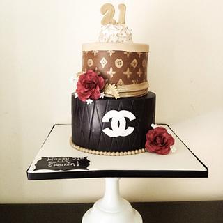Designer label cake