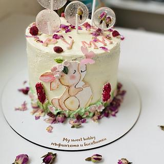 Hand painted baby girl's cake