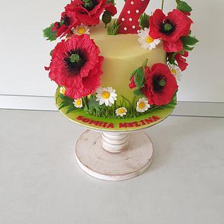 Peonies cake