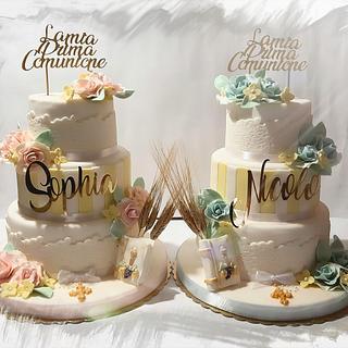 """""""La mia Prima Comunione"""" torte gemelle  - Cake by zuccheroperpassione"""