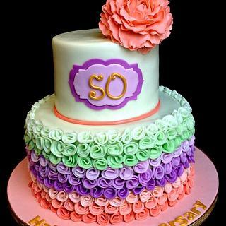 50th Wedding anniversary Peony cake