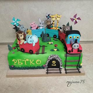 Cake with train and animals