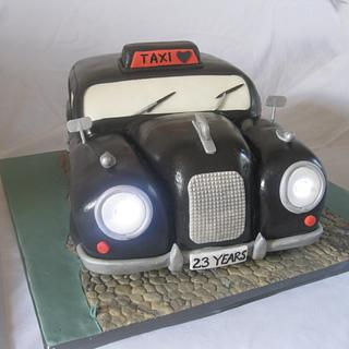 black cab wedding cake