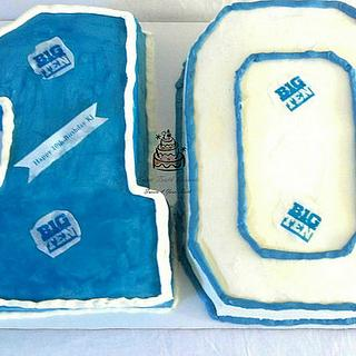 Blue and White 10th Birthday Cake w//Matching Cookies and Cupcakes