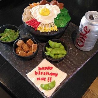 BIBIMBAP CAKE WITH SIDES AND DIET COKE