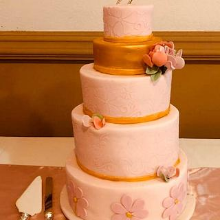 Pink and Gold Stenciled Cake