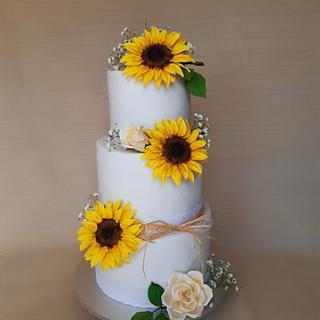 Wedding cake with sugar sunflowers - Cake by Layla A