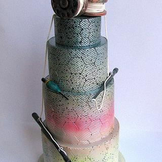 Avant-garde fishing themed cake