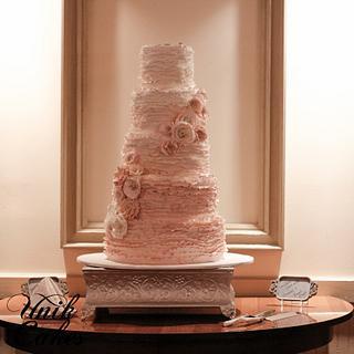 Romantic ombre ruffles wedding cake